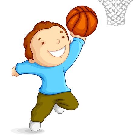 canestro basket: Ragazzo che gioca Pallacanestro Vettoriali