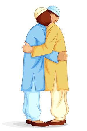 eid: People wishing Eid Mubarak Illustration