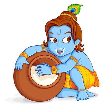 krishna: Le Seigneur Krishna vole makhaan Illustration