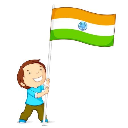 agosto: Boy Holding Bandiera dell'India Vettoriali