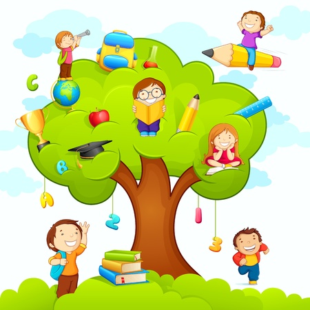 Kids studying on Tree Ilustrace