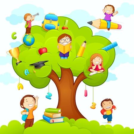 arbol de manzanas: Los niños que estudian en el Árbol Vectores