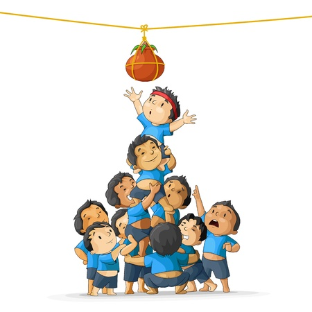 krishna: Boys breaking Dahi Handi Illustration