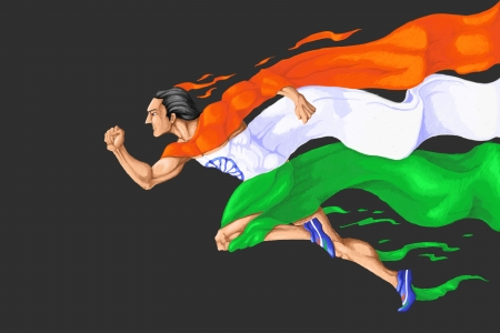 republic day: Runner in Tricolor Stock Photo