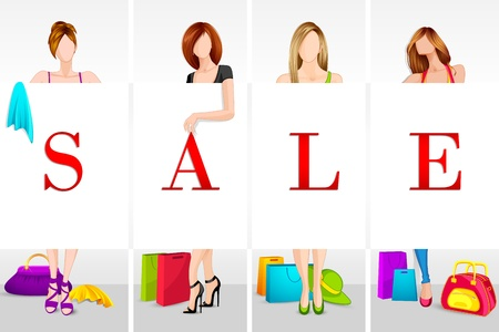 Lady Shopping in Sale Stock Vector - 14732348