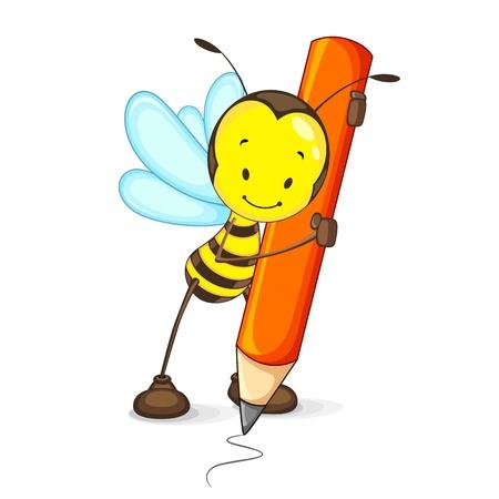 abeja caricatura: Bee Dibujo con el lápiz Vectores