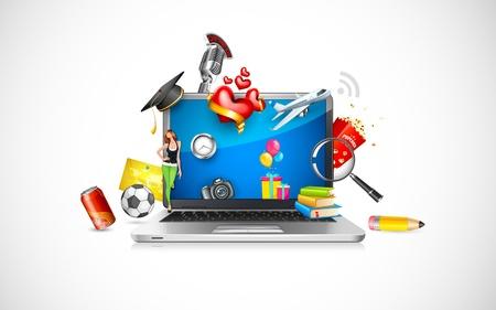 Las compras en línea Ilustración de vector