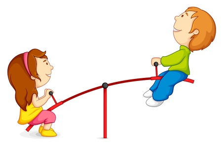 Kids on Seesaw Stock Vector - 14732355