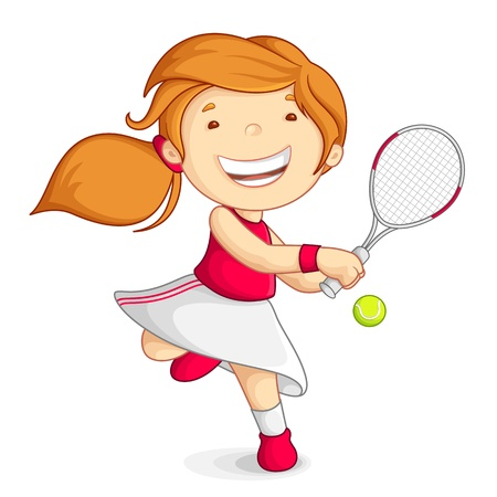 playing tennis:  girl playing Tennis Illustration