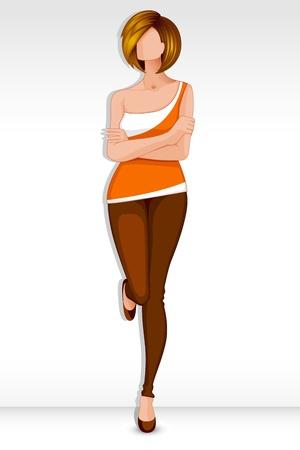mujer feliz fondo blanco: Se�ora Moderna