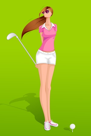Lady Golfer Illustration