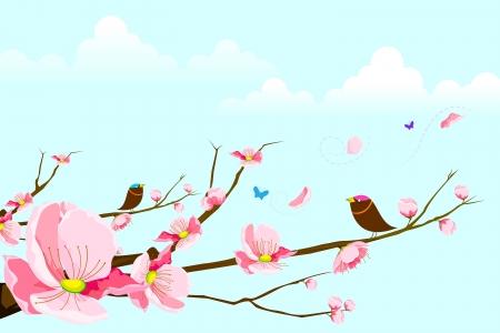Birds on Spring Tree Stock Vector - 14814090