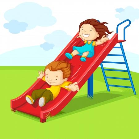 niños en area de juegos: Niños en la diapositiva Vectores