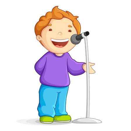 child singing: Singing School Boy