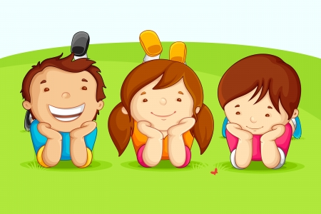 cute little girl smiling: Happy Friends Illustration