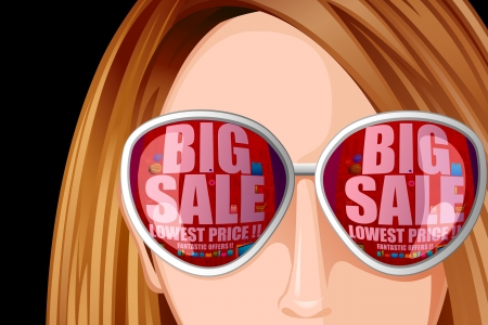 attitude girls: Lady with Sale reflection on Goggles