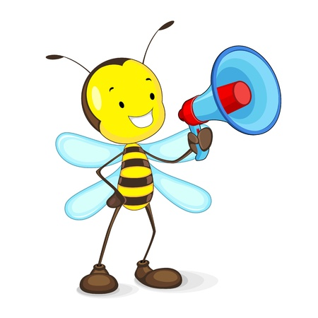 Bee announcing in Megaphone Vector