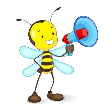 abeja caricatura: Bee anunciar en Megáfono
