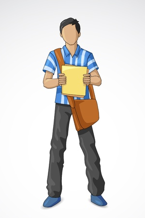 Estudiante masculino Ilustración de vector