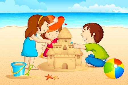 chateau de sable: Enfants faisant Sand Castle