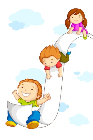 Kids sliding on Paper Stock Vector - 14814126