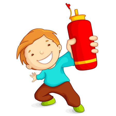 Boy with Water Bottle Vector