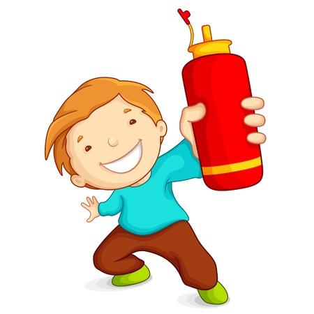 Jongen met Water Bottle Vector Illustratie
