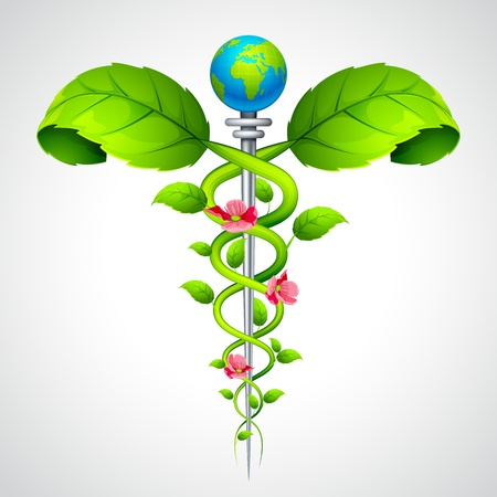 terapias alternativas: Signo caduceo con hojas y flores