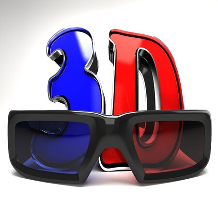 3D glasses: 3D Glasses with Text Stock Photo