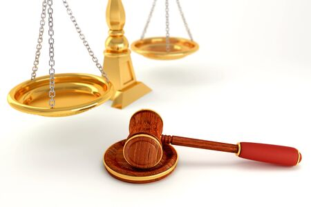 Wooden Law Gavel with Scale photo