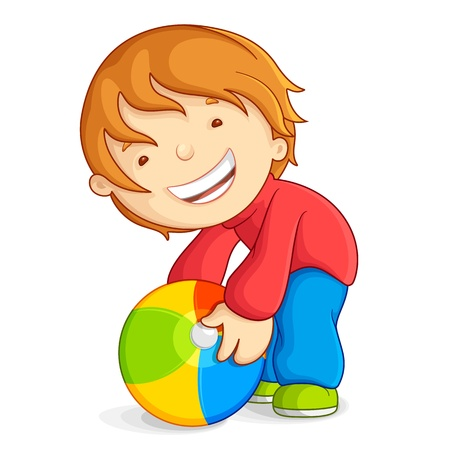 Kid playing with Beach Ball Vector