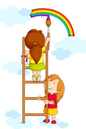arcoiris caricatura: Niños que pintan Rainbow