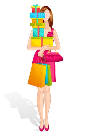 Lady with Gift Box Vector