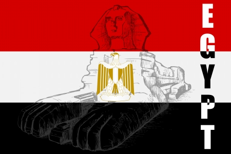 flag of egypt: La Gran Esfinge