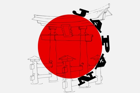 Miyajima monument of Japan Vector