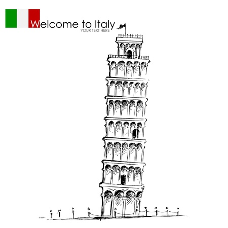 cathedrals: Leaning Tower of Pisa Illustration