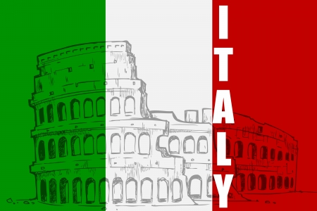 italy flag: Roman Colosseum