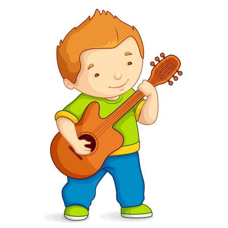 Kid playing Guitar Vector