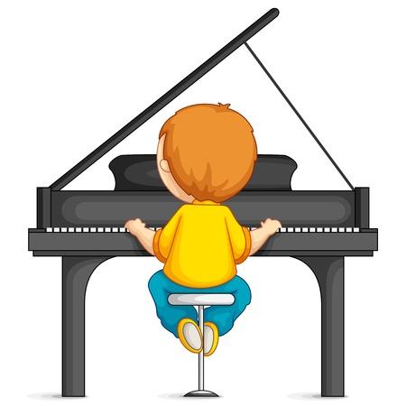 예행 연습: 피아노를 연주하는 소년 일러스트