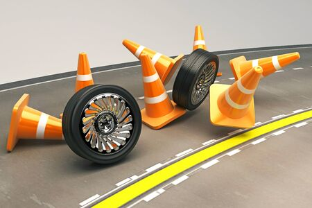 Tire with Under Construction COne Stock Photo - 14985505