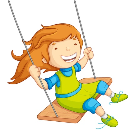 Baby Girl Swinging Vector