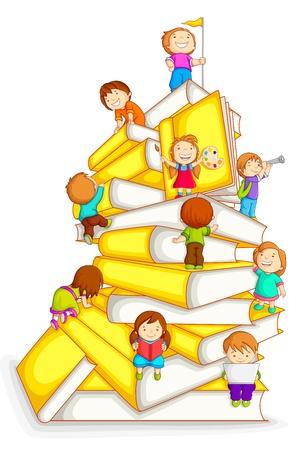 Niños Escalada en la pila de libro