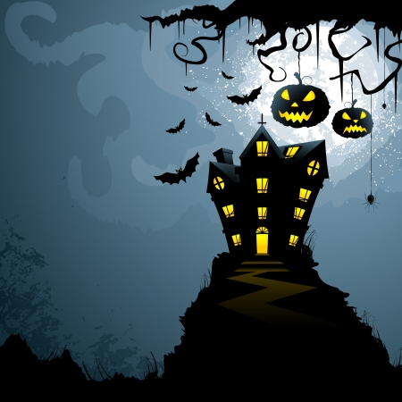 horror house: Halloween Background Illustration