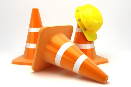 hard cap: Construction Cone with Hard Hat