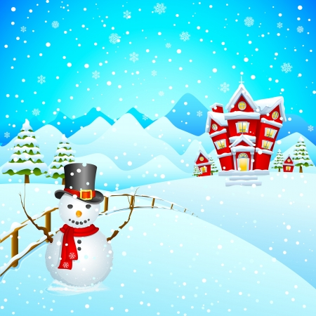 tranquil scene: Snowman wishing Merry Christmas