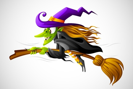 broomstick: Halloween Witch Illustration