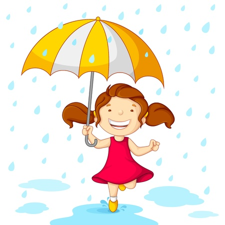 rain cartoon: Girl playing in Rain