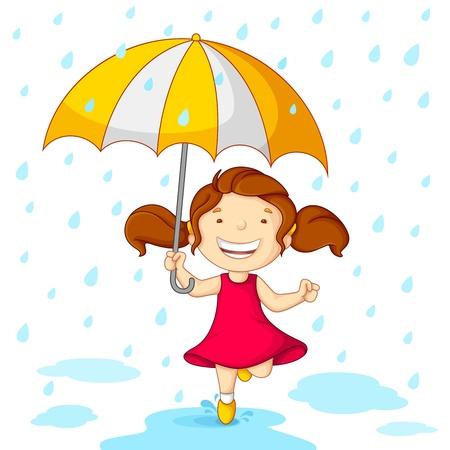 lluvia paraguas: Ni�a jugando en la lluvia