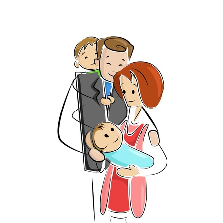 Family welcoming new born baby Vector