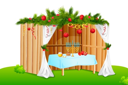 thatched house: Decorated Sukkah